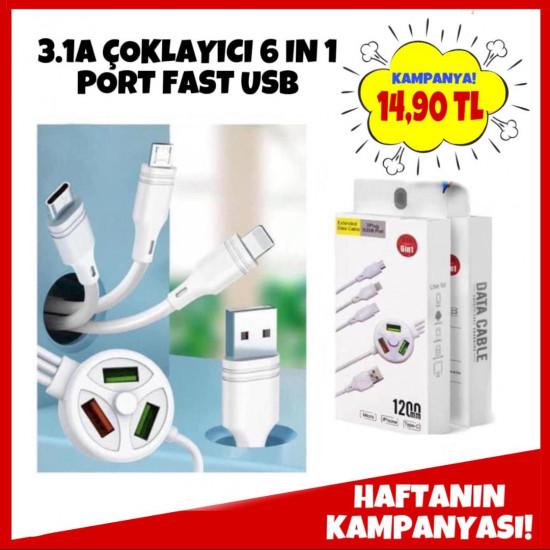 3.1A ÇOKLAYICI 6 IN 1 PORT FAST USB
